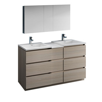 """60"""" Gray Wood Partitioned with Medicine Cabinet and Sink Product View"""