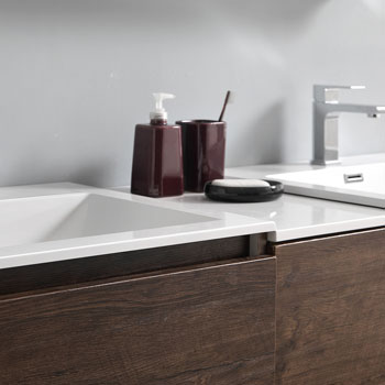 """60"""" Rosewood Partitioned with Medicine Cabinet and Sink Partition Top"""