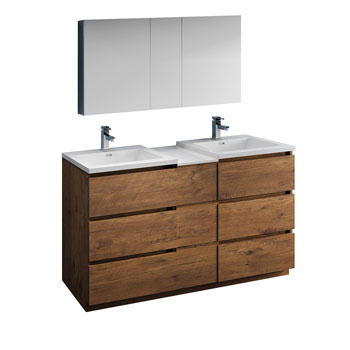 """60"""" Rosewood Partitioned with Medicine Cabinet and Sink Product View"""