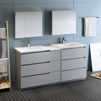 """72"""" Gray Partitioned with Medicine Cabinet and Sink Side View"""