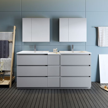 """72"""" Gray Partitioned with Medicine Cabinet and Sink Front View"""
