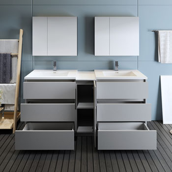 """72"""" Gray Partitioned with Medicine Cabinet and Sink Drawers Open"""