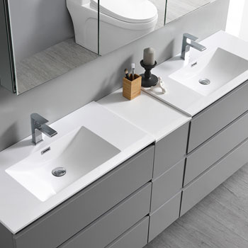 """72"""" Gray Partitioned with Medicine Cabinet and Sink Overhead View"""