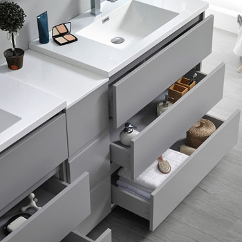 """72"""" Gray Partitioned with Medicine Cabinet and Sink Tiered Drawers"""