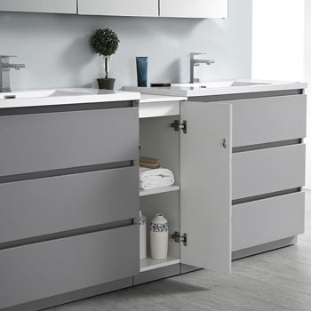 """72"""" Gray Partitioned with Medicine Cabinet and Sink Open"""