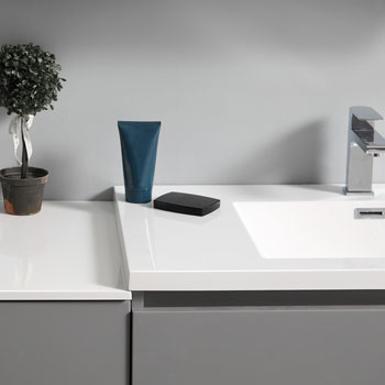 """72"""" Gray Partitioned with Medicine Cabinet and Sink Partition Top"""