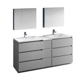 """72"""" Gray Partitioned with Medicine Cabinet and Sink Product View"""