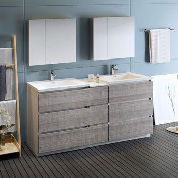 """72"""" Glossy Ash Gray Partitioned with Medicine Cabinet and Sink Side View"""