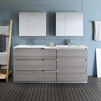 """72"""" Glossy Ash Gray Partitioned with Medicine Cabinet and Sink Front View"""