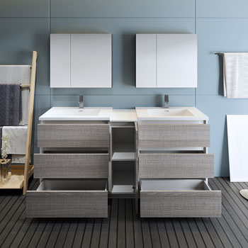 """72"""" Glossy Ash Gray Partitioned with Medicine Cabinet and Sink Drawers Open"""