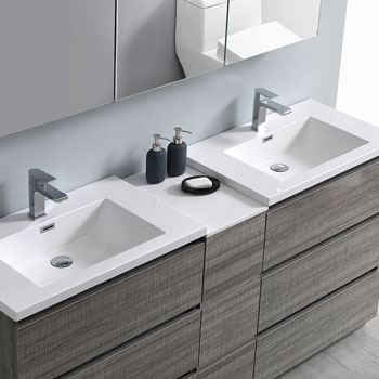 """72"""" Glossy Ash Gray Partitioned with Medicine Cabinet and Sink Overhead View"""