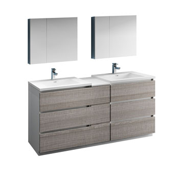 """72"""" Glossy Ash Gray Partitioned with Medicine Cabinet and Sink Product View"""