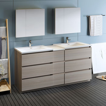 """72"""" Gray Wood Partitioned with Medicine Cabinet and Sink Side View"""