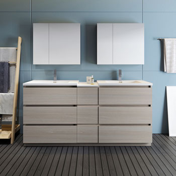 """72"""" Gray Wood Partitioned with Medicine Cabinet and Sink Front View"""
