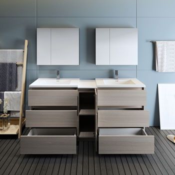 """72"""" Gray Wood Partitioned with Medicine Cabinet and Sink Drawers Open"""