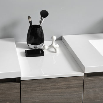 """72"""" Gray Wood Partitioned with Medicine Cabinet and Sink Partition Top"""
