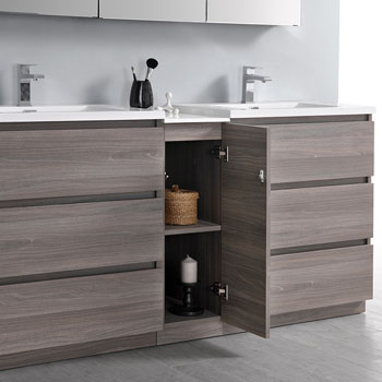 """72"""" Gray Wood Partitioned with Medicine Cabinet and Sink Open"""
