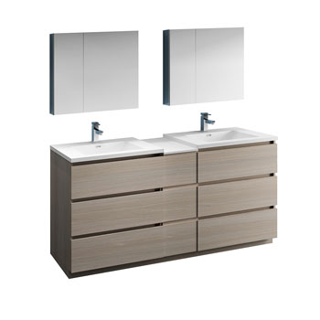 """72"""" Gray Wood Partitioned with Medicine Cabinet and Sink Product View"""