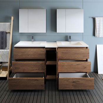 """72"""" Rosewood Partitioned with Medicine Cabinet and Sink Drawers Open"""
