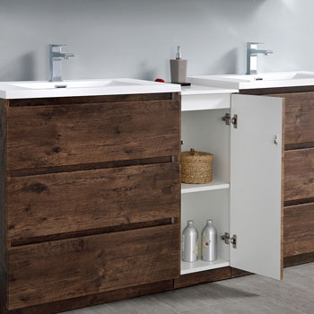 """72"""" Rosewood Partitioned with Medicine Cabinet and Sink Open"""