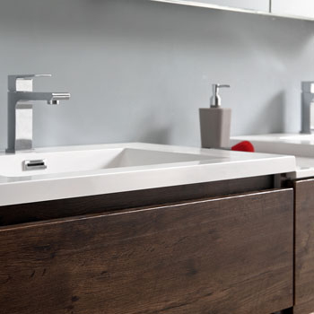 """72"""" Rosewood Partitioned with Medicine Cabinet and Sink Basin"""