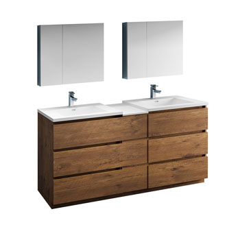 """72"""" Rosewood Partitioned with Medicine Cabinet and Sink Product View"""