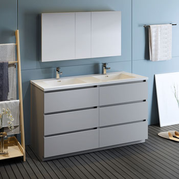 """60"""" Gray with Medicine Cabinet and Sink Side View"""