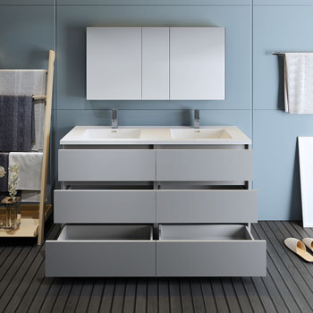 """60"""" Gray with Medicine Cabinet and Sink Drawers Open"""