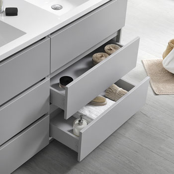 """60"""" Gray with Medicine Cabinet and Sink Tiered Drawers"""