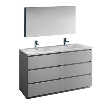 """60"""" Gray with Medicine Cabinet and Sink Product View"""