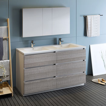 """60"""" Glossy Ash Gray with Medicine Cabinet and Sink Side View"""