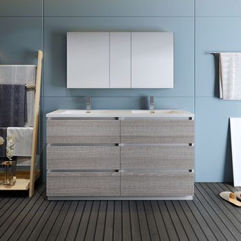 """60"""" Glossy Ash Gray with Medicine Cabinet and Sink Front View"""