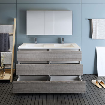 """60"""" Glossy Ash Gray with Medicine Cabinet and Sink Drawers Open"""