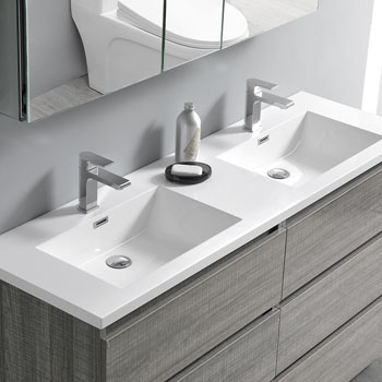 """60"""" Glossy Ash Gray with Medicine Cabinet and Sink Overhead View"""