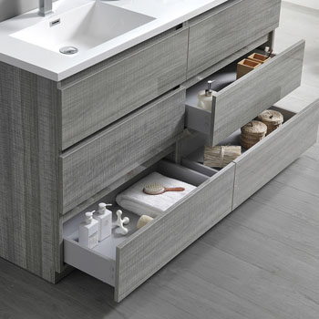 """60"""" Glossy Ash Gray with Medicine Cabinet and Sink Tiered Drawers"""