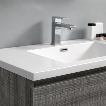 """60"""" Glossy Ash Gray with Medicine Cabinet and Sink Close Up"""