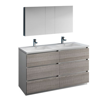 """60"""" Glossy Ash Gray with Medicine Cabinet and Sink Product View"""