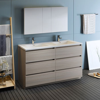"""60"""" Gray Wood with Medicine Cabinet and Sink Side View"""