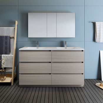 """60"""" Gray Wood with Medicine Cabinet and Sink Front View"""