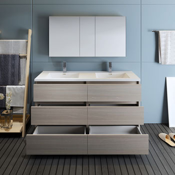 """60"""" Gray Wood with Medicine Cabinet and Sink Drawers Open"""