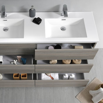 """60"""" Gray Wood with Medicine Cabinet and Sink Tiered Drawers"""