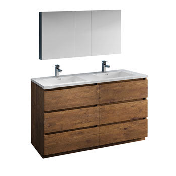 """60"""" Rosewood with Medicine Cabinet and Sink Product View"""