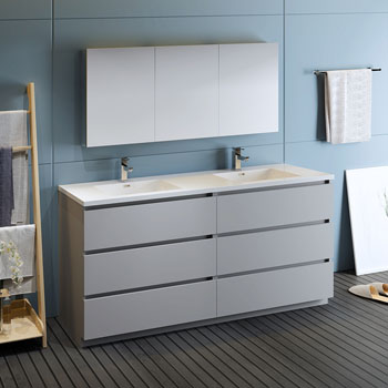 """72"""" Gray with Medicine Cabinet and Sink Side View"""