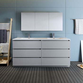 """72"""" Gray with Medicine Cabinet and Sink Front View"""