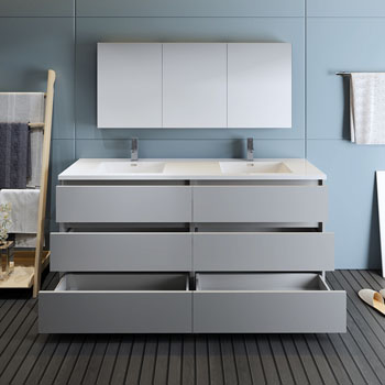 """72"""" Gray with Medicine Cabinet and Sink Drawers Open"""