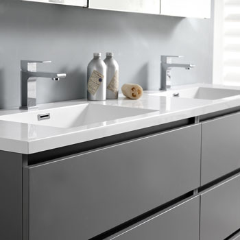 """72"""" Gray with Medicine Cabinet and Sink Close Up"""