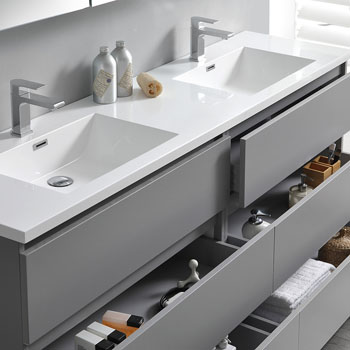 """72"""" Gray with Medicine Cabinet and Sink Tiered Drawers"""