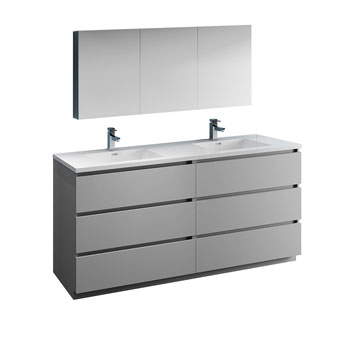 """72"""" Gray with Medicine Cabinet and Sink Product View"""