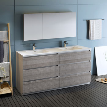 """72"""" Glossy Ash Gray with Medicine Cabinet and Sink Side View"""