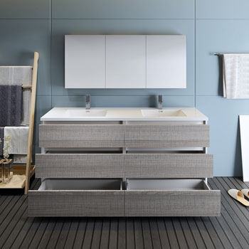 """72"""" Glossy Ash Gray with Medicine Cabinet and Sink Drawers Open"""